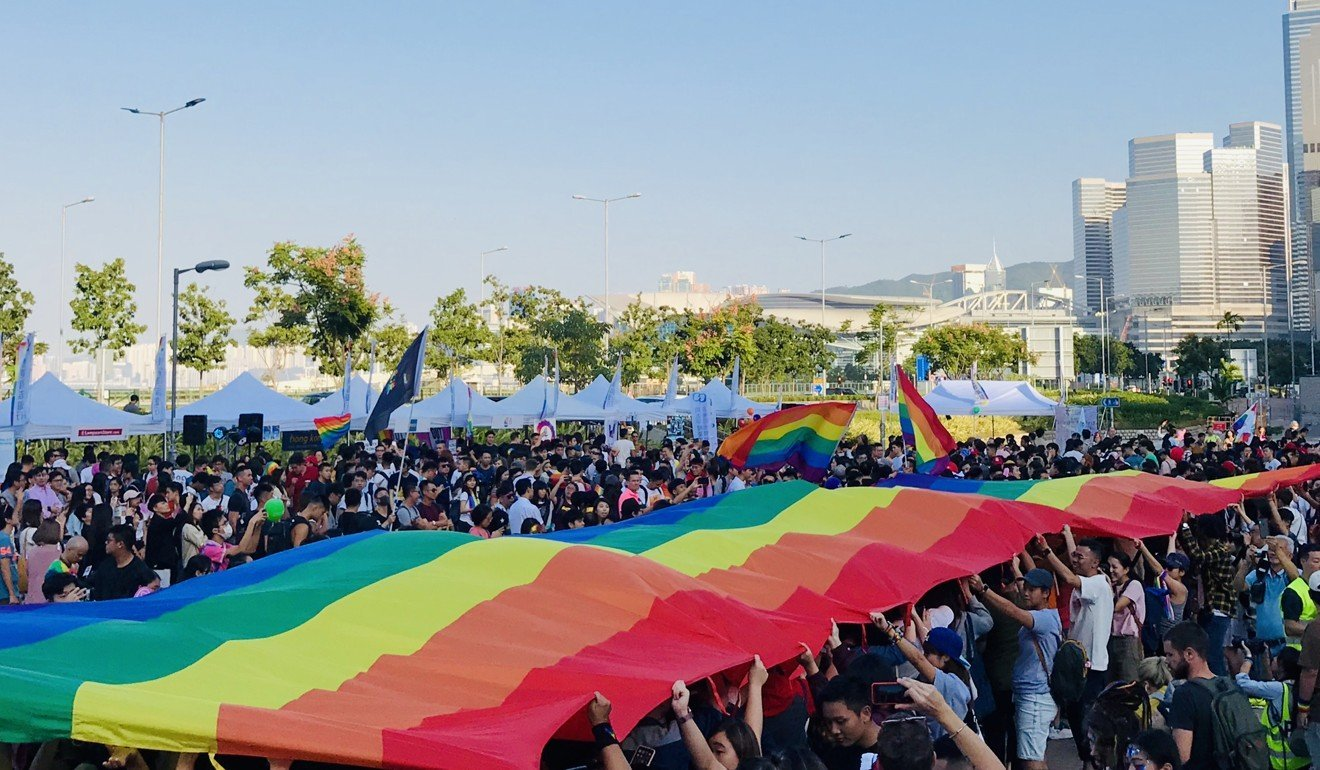 Hong Kong Pride Parade with Large Rainbow Flag